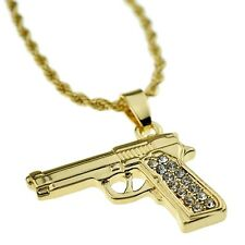 """Gun Iced-Out Micro Pendant Men's Hip Hop Chain Gold Tone 24"""" Inch Rope Necklace"""