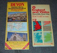 England & Wales Reversible Road Map & Devon UK Tourist Map & Guide