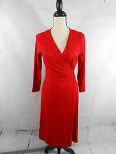 Ann Taylor Womens 2 Red V Neck Wrap Belted 3/4 Sleeve Dress XS S Rayon Spandex