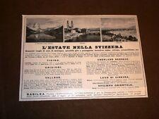 Pubblicità dei primi del '900 Estate in Svizzera Cervino - Zurigo - Ginevra