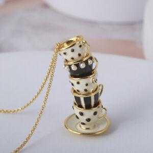 Kate Spade Tea Time 5 Teacups Set Black/White Enamel Gold Necklace