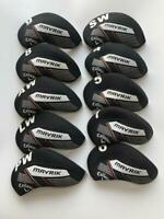 10PCS Golf Iron Headcovers for Callaway Mavrik Club Covers 4-LW Black&Black R/H