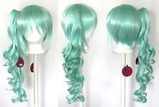 23'' Curly Pony Tail + Base Mint Green Cosplay Wig NEW