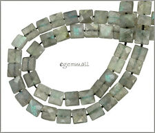 "15.6"" Labradorite Faceted Flat Square Beads 8mm Grade A #85396"