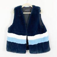 NEW Shaci Striped Faux Fur Vest Plus Size 2X Blue White Lined Coat Jacket