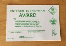 Cub Scouts Uniform Inspection Award Card BSA Unused Vintage Collectible