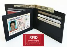 RFID Block Genuine Leather Men's Hipster European Bifold Wallet Center Flap