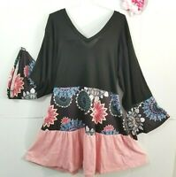 New Plus Size Womens 1X 2X Boho Black/Pink Floral Ruffle Tiered Tunic Top Dress
