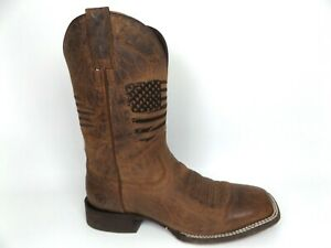 Ariat Men's Weathered Tan Circuit Patriot Wide Square Toe Western Boot SZ 8.5 EE