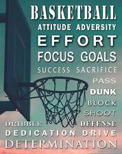 Basketball Motivational Poster Wall Art Print Kids Room Sports Classroom MVP665