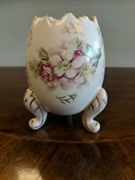 Inarco Egg Shaped Footed Vase Porcelain 1962 Hand-Painted Japan Pink Floral