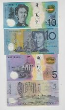 More details for four different australia five dollar & ten dollar banknotes in mint condition.