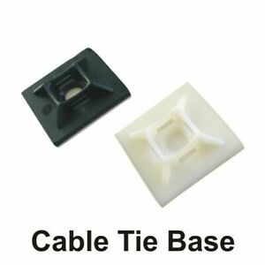100 Self Adhesive Cable Tie Base Mount Clips 4 Way Various Sizes in Black