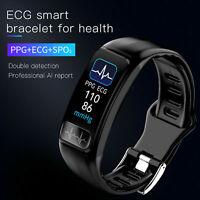 PPG ECG Bluetooth Smart Watch Heart Rate Blood Pressure SPO2 Bracelet Waterproof