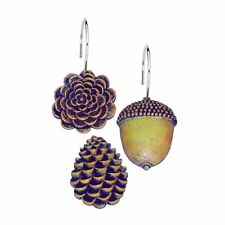 Carnation Home Pine Cones Resin Shower Curtain Hooks Set of 12, Php-Pc New