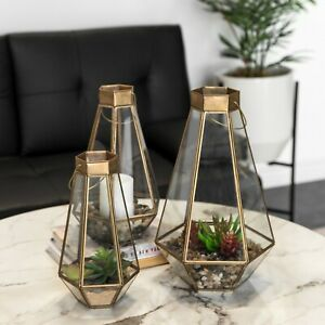 Set of 3 Gold Metal Candle Holders Lantern Decorative Glass Hurricane Succulent