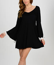 Bellino Black with White Lace-trimmed Bell-Sleeve Shift Dress Tunic~LARGE/XL~NWT