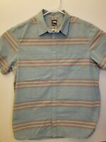 The North Face Mens XL Blue Grey Yellow Red Striped Button Up Short Sleeve Shirt
