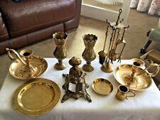 More details for job lot vintage brassware including candlesticks, verses, plate, fire companion