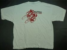 Rare VTG NAUTICA Competition Bicycling Spell Out T Shirt 90s Cycling White 2XL
