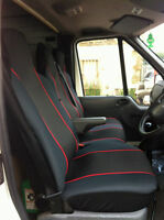 RENAULT TRAFFIC (01-14) FABRIC RED TRIM VAN SEAT COVERS SINGLE & DOUBLE 2+1