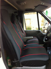 RENAULT TRAFFIC (2014 ON) FABRIC RED TRIM VAN SEAT COVERS SINGLE & DOUBLE 2+1