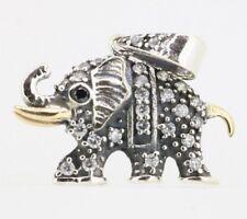 Elefanten Anhänger - 925 Sterling Silber - vergoldet mit Onyx Elephant Zirkonia