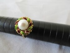 18ct Gold Cultured Pearl and Enamel Ring Red and Green Enamel