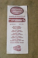 Continental Trailways Bus Timetable #3 - June 6, 1963