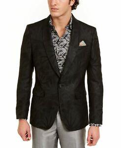 Tallia Mens Suit Jacket Black Size 44 Shimmer 3 Pocket Front Satin $350 #137