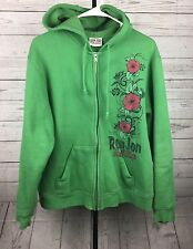 Ron Jon Surf Shop Green Adult Full Zip Hoodie Size Medium Green & Pink Floral