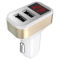 Car Charger 5V 2.1A Dual USB Port LCD Display Cigarette Lighter Phone Adapter AU