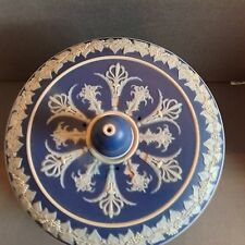 LEAR Jasperware Cheese Dome Blue and White