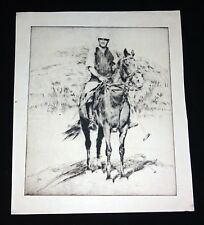 1930 Hawaii Etching Print Polo Player & Horse by John Melville Kelly (Kel)