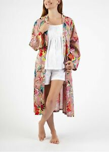 New DRESSING GOWN - ROBE - SALMON & DARK PINK FLORAL