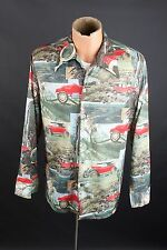 Vtg 70s Men's Polyester Classic Car Photo Print Shirt sz L 1970s #1804 Disco