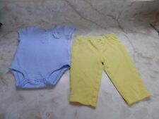 Baby Girl 6 Months Carter's Blue White Striped Top & Yellow Pants Outfit
