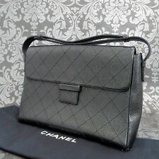 Rise-on CHANEL Black Caviar Skin Leather Flap Shoulder bag Handbag Purse #1697