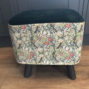 """New Square Footstool Made In William Morris  """"Golden Lily""""  Fabric"""