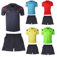 Men's Soccer Football Referee Jersey Team Short Uniform Sleeve Shirt Shorts 2Pcs