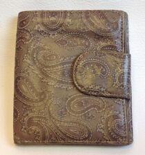 Vintage FIOCCHI Womens Lambskin Leather Bilfold Wallet Paisley Brown Tan