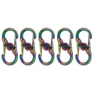 Nite Ize S-Biner MicroLock Stainless Locking Keychain Carabiner, Spectrum 5-Pack