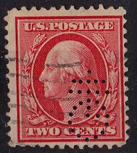 US 1909 Scott # 358 George Washington first President 2 C Carmine STAMP perfin