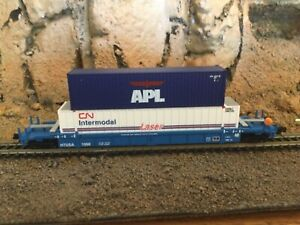 N Scale Walthers husky stack well car w/containers HTUSA SPECIAL RUN mtl cplr
