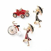 Fashion Crystal Rhinestone Bicycle Car Girl Brooch Pin Breastpin Jewellery Gift