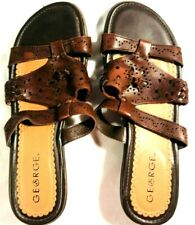 George Womens Brown Slip On Sandals Size 6.5