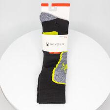 NWT Spyder Ski Socks One Pair Black Yellow Absorb Tek Mens Shoe Size 4-10