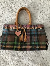 Women Multi Color DOONEY & BOURKE  Plaid  Vinyl Handbag Purse  Leather Hand Str