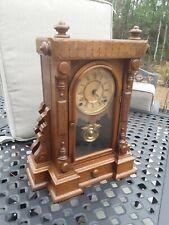 Rare Ingraham Walnut Parlor Cabinet Clock