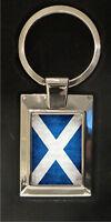 Scottish Flag - high polished metal keyring